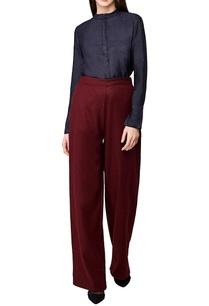 black-handwoven-silk-mandarin-collar-shirt