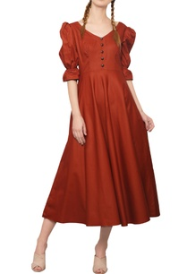 rustic-orange-button-detailed-dress