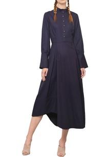 navy-blue-asymmetric-midi-dress