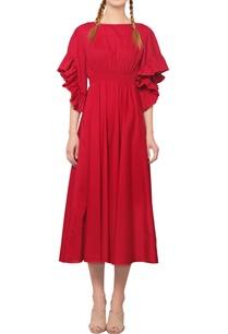 red-ruffled-midi-dress