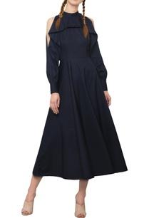 navy-blue-ruffled-maxi-dress
