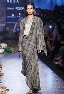 grey-tartan-linen-hand-woven-sari