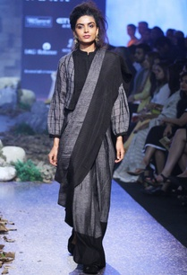 charcoal-grey-hand-woven-linen-sari
