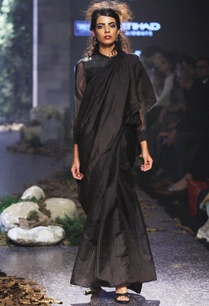 black-linen-silk-jamdani-sari