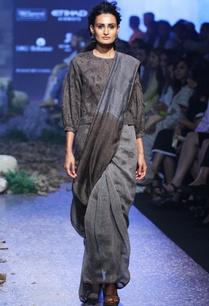 charcoal-grey-black-hand-woven-linen-sari
