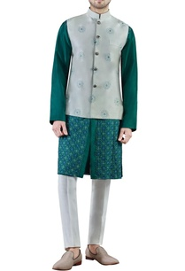 mint-green-embroidered-dupion-silk-kurta-set