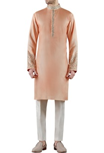 peach-embroidered-silk-kurta