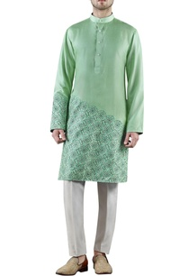 mint-green-embroidered-silk-kurta