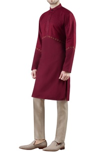 burgundy-embroidered-cotton-silk-kurta