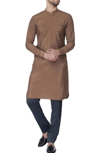 brown-leather-embroidery-cotton-kurta
