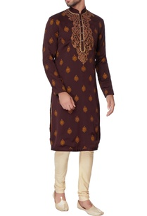 brown-laser-cut-crepe-kurta-set