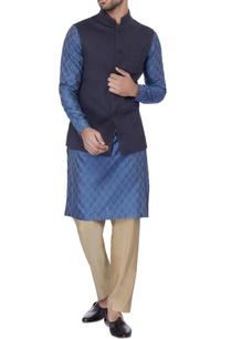 blue-self-pattern-italian-suiting-kurta-set