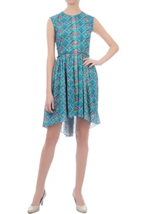 blue-butterfly-frill-short-dress