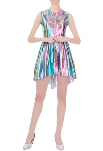 multicolored-rainbow-stripe-lurex-mini-dress
