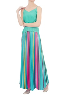blue-striped-pleated-skirt
