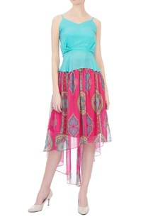 pink-gathered-high-low-style-skirt