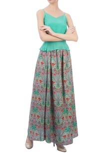 green-floral-maxi-skirt