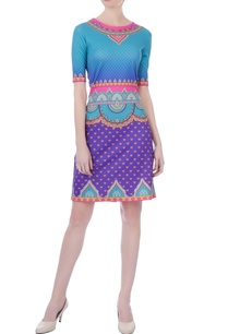 blue-scuba-printed-short-dress