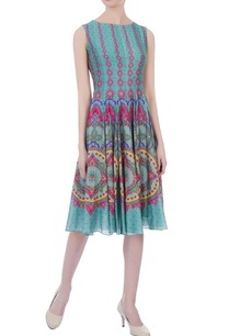 mint-green-chanderi-printed-short-dress