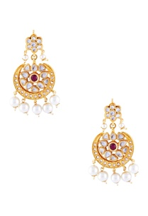 gold-micron-finish-earrings-with-faux-pearl-tiered-necklace