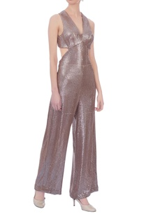 champagne-woven-sequin-embellished-jumpsuit