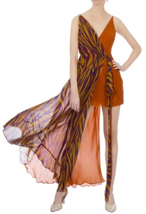 rust-orange-dual-patterned-layered-dress