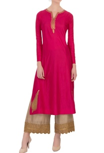 fuchsia-embroidered-silk-kurta