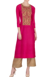hot-pink-gold-silk-embroidered-kurta-with-pants