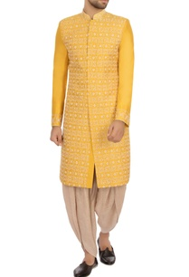 yellow-beige-raw-silk-embroidered-sherwani