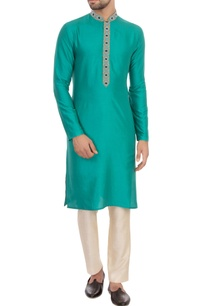 aqua-green-spun-silk-embroidered-kurta