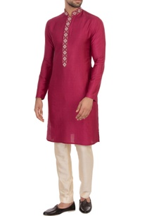 maroon-spun-silk-embroidered-kurta