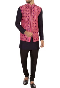 pink-raw-silk-printed-nehru-jacket