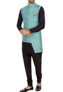 turquoise-raw-silk-high-low-nehru-jacket