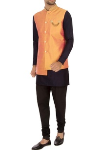 orange-raw-silk-solid-nehru-jacket