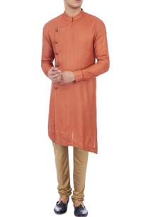 red-check-patterned-matka-silk-kurta