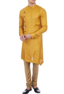 yellow-check-matka-silk-kurta