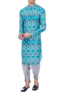 blue-ikat-printed-muslin-kurta