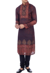 dark-brown-printed-cotton-kurta