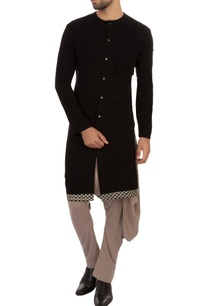 black-organic-cotton-hand-woven-kurta
