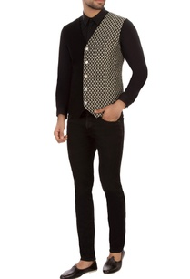 black-dual-patterned-organic-cotton-waistcoat