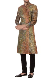 pista-green-rust-bengal-silk-embroidered-angrakha-kurta