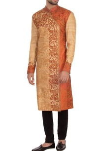 beige-orange-tussar-silk-embroidered-angrakha-kurta
