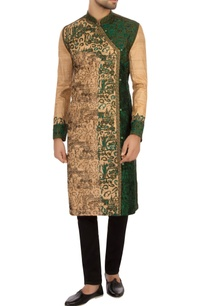 beige-green-tussar-silk-embroidered-angrakha-kurta