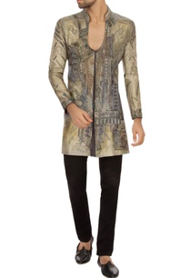 steel-grey-bengal-silk-embroidered-kurta