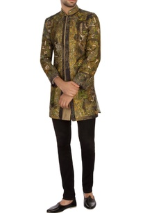 moss-green-black-garad-silk-embroidered-bandhgala-jacket