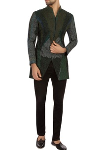 forest-green-cotton-embroidered-bandhgala-jacket