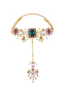 multi-color-gold-polished-epoxy-crystals-choker-necklace