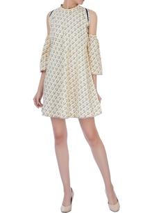 lemon-yellow-linen-cold-shoulder-dress