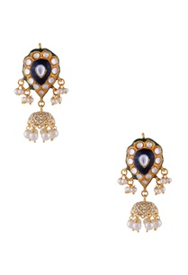 indigo-gold-plated-copper-pearl-jhumki