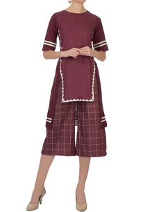 burgundy-high-low-applique-work-linen-tunic